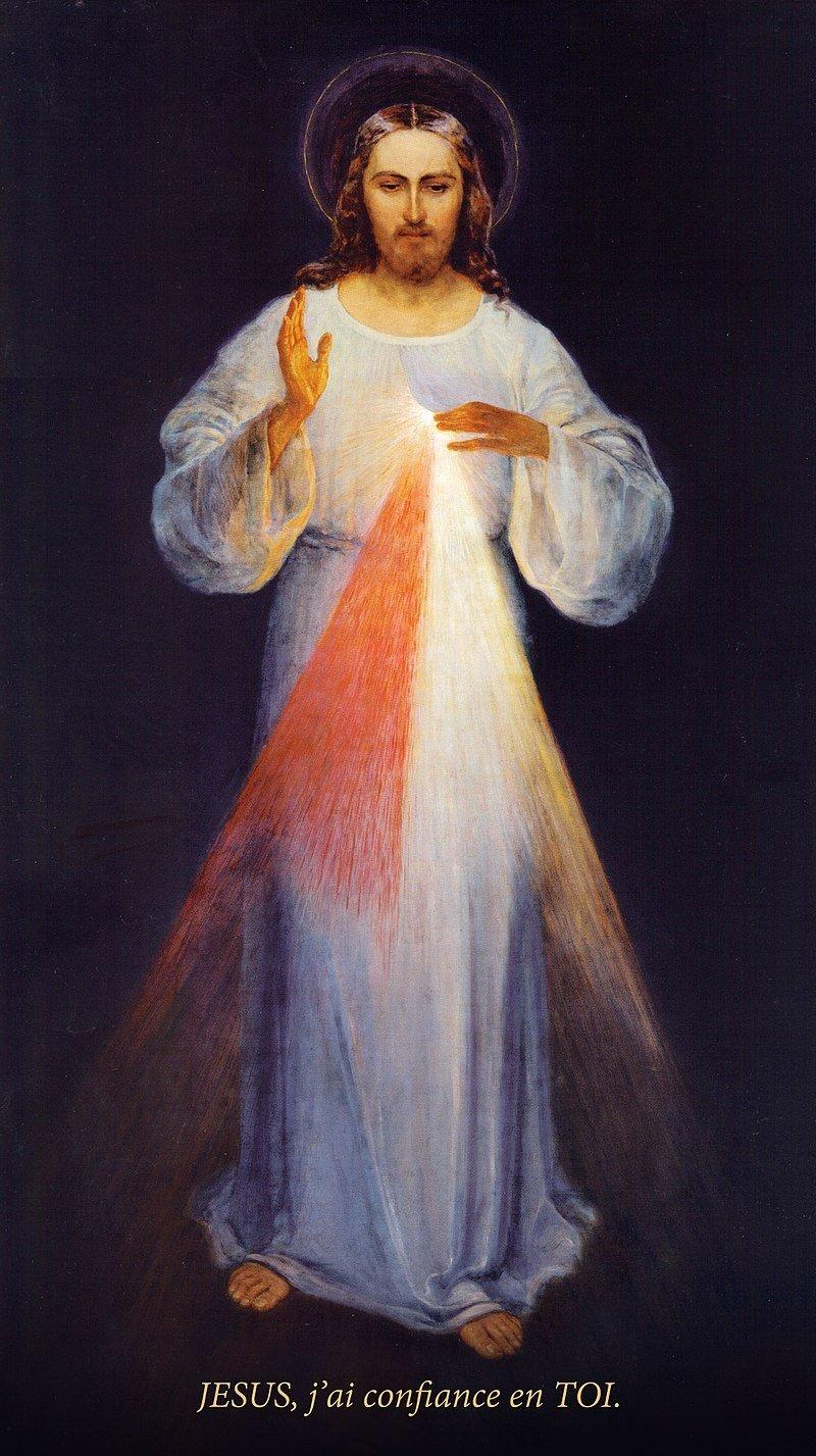 Tableau original Divine Miséricorde Jésus confiance sainte Faustine peintre Eugeniusz Kazimirowski 1934